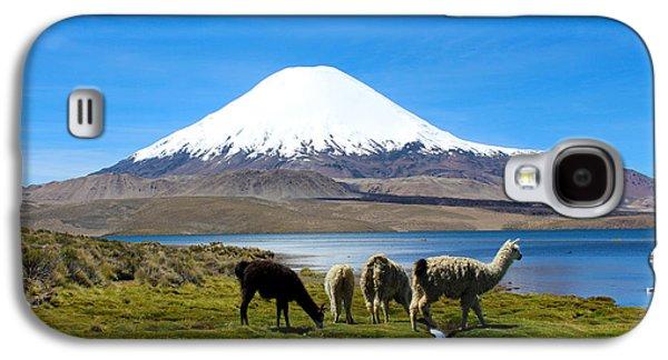 Parinacota Volcano Lake Chungara Chile Galaxy S4 Case by Kurt Van Wagner