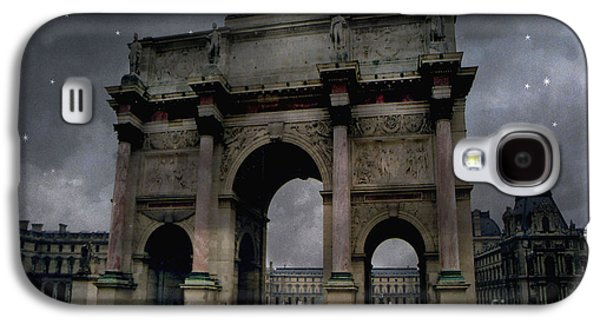 Paris Arc Du Carousel - Louvre Museum Arc De Triomphe - Starry Night Blue Paris Louvre Courtyard Galaxy S4 Case by Kathy Fornal