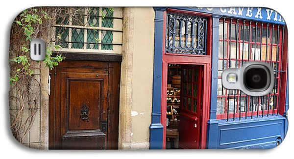 Paris Architecture Brown Door And Wine Shop - Paris Resto Cave A Vins Street Shoppe  Galaxy S4 Case by Kathy Fornal