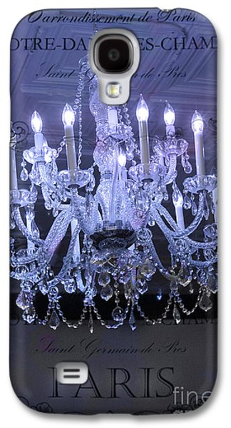 Paris Blue Crystal Chandelier Sparkling Chandelier Art - Paris Blue Shimmering Chandelier Art Deco  Galaxy S4 Case by Kathy Fornal