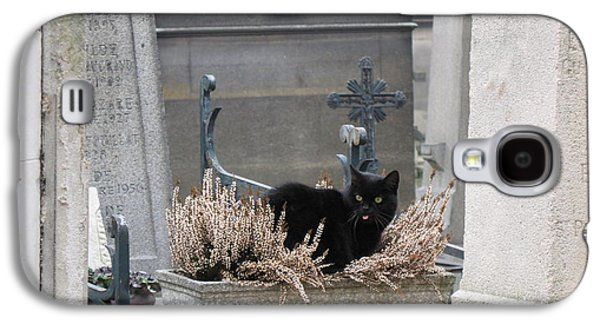 Paris Cemetery Cat - Le Chats Noir - Pere Lachaise - Black Cat On Grave Cemetery Art Galaxy S4 Case by Kathy Fornal