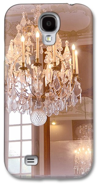 Paris Chandeliers - Dreamy Pastel Pink Rodin Museum Crystal Chandelier With Reflection In Mirror Galaxy S4 Case by Kathy Fornal