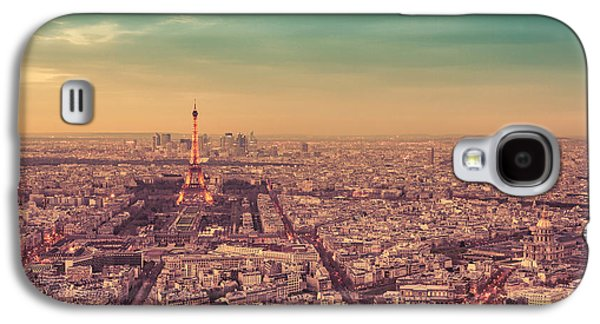 City Sunset Galaxy S4 Case - Paris - Eiffel Tower And Cityscape At Sunset by Vivienne Gucwa