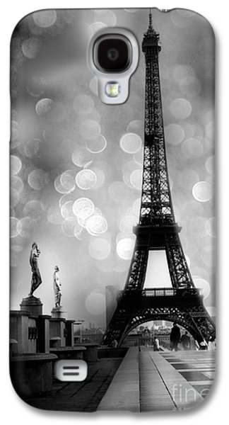 Paris Eiffel Tower Surreal Black And White Photography - Eiffel Tower Bokeh Surreal Fantasy Night  Galaxy S4 Case by Kathy Fornal