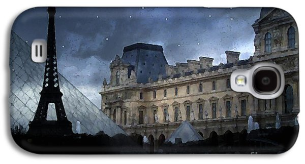 Louvre Galaxy S4 Case - Paris Eiffel Tower With Louvre Museum Montage Photo Painting - Paris Architecture And Landmarks  by Kathy Fornal