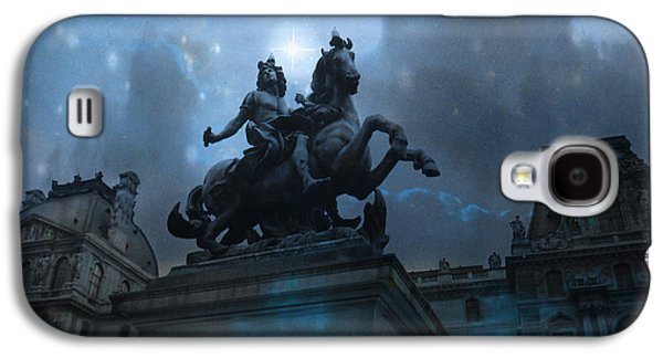 Paris Louvre Museum Blue Starry Night - King Louis Xiv Monument At Louvre Museum Galaxy S4 Case by Kathy Fornal