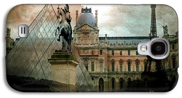 Paris Louvre Museum Pyramid Architecture - Eiffel Tower Photo Montage Of Paris Landmarks Galaxy S4 Case by Kathy Fornal