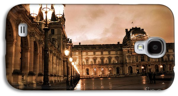 Louvre Galaxy S4 Case - Paris Louvre Museum Sepia Night Lights Street Lamps - Paris Sepia Louvre Museum Night Photography by Kathy Fornal