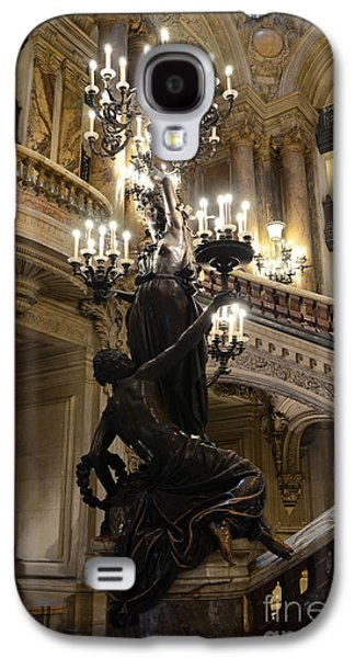 Paris Opera House Grand Staircase And Chandeliers - Paris Opera Garnier Statues And Architecture  Galaxy S4 Case by Kathy Fornal