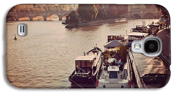Paris Seine River Fall Autumn - Boats Along The Seine River Galaxy S4 Case by Kathy Fornal
