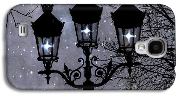 Paris Street Lights Lanterns - Paris Starry Night Dreamy Surreal Starlit Night Street Lamps Of Paris Galaxy S4 Case
