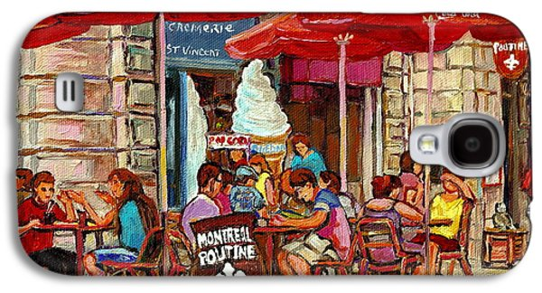 Paris Style Sidewalk Cafe Paintings Le Cremerie Bar Vieux Port Montreal Poutine Red Bistro Umbrellas Galaxy S4 Case