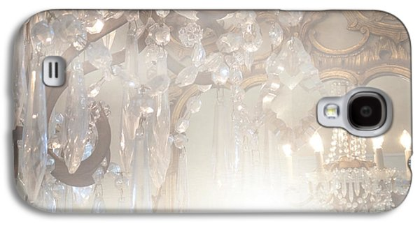 Paris Dreamy White Gold Ghostly Crystal Chandelier Mirrored Reflection - Paris Crystal Chandeliers Galaxy S4 Case by Kathy Fornal