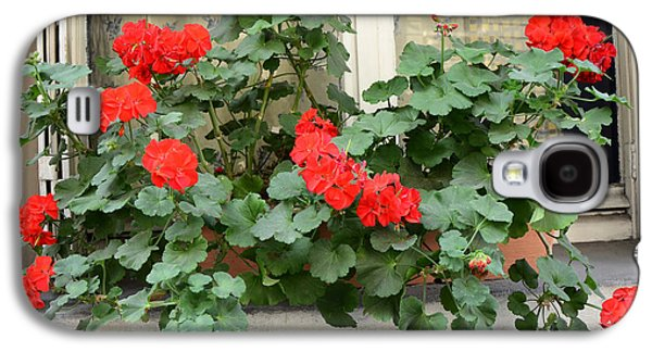 Paris Window Flower Box Geraniums - Paris Red Geraniums Window Flower Box Galaxy S4 Case by Kathy Fornal