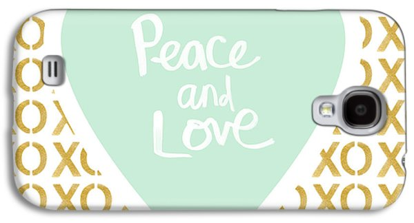 Peace And Love In Aqua And Gold Galaxy S4 Case by Linda Woods
