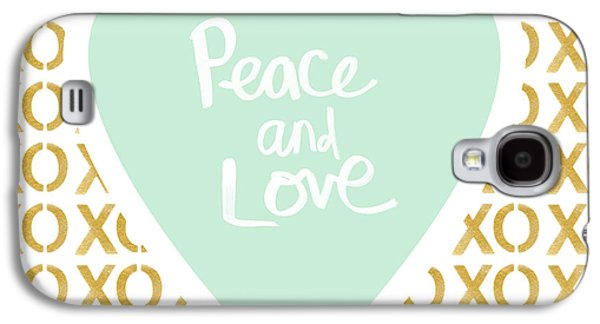 Peace And Love In Aqua And Gold Galaxy S4 Case
