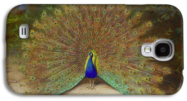 Peacock And Peacock Butterfly Galaxy S4 Case by Archibald Thorburn