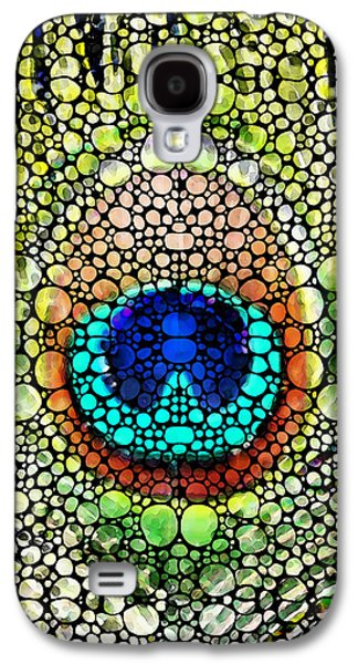 Peacock Feather - Stone Rock'd Art By Sharon Cummings Galaxy S4 Case by Sharon Cummings