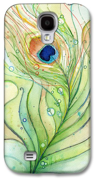 Peacock Feather Watercolor Galaxy S4 Case by Olga Shvartsur