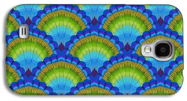 Peacock Galaxy S4 Case - Peacock Scallop Feathers by Kimberly McSparran