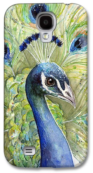 Peacock Galaxy S4 Case - Peacock Watercolor Portrait by Olga Shvartsur