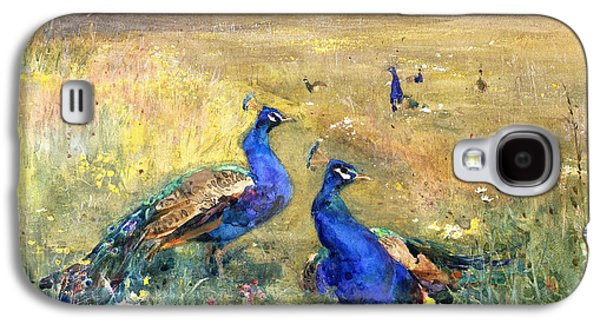 Peacocks In A Field Galaxy S4 Case by Mildred Anne Butler