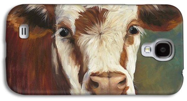 Cow Galaxy S4 Case - Pearl Iv Cow Painting by Cheri Wollenberg