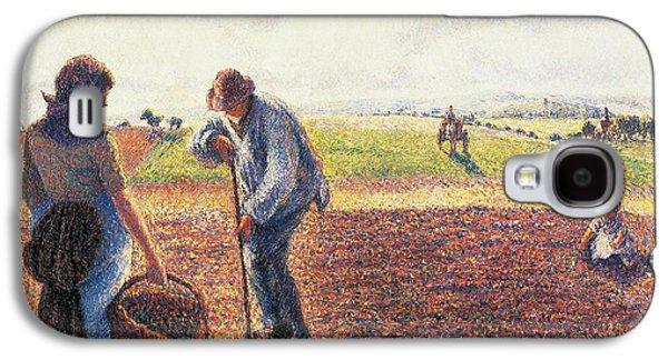 Peasants In The Field Eragny Galaxy S4 Case by Camille Pissarro