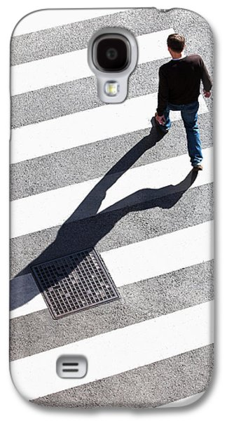 Pedestrain Crossing The Street On Zebra Galaxy S4 Case by Panoramic Images