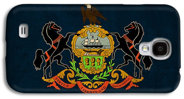 Pennsylvania State Flag Art On Worn Canvas Galaxy S4 Case by Design Turnpike