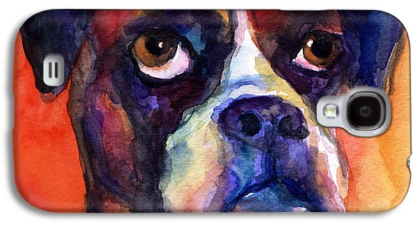 pensive Boxer Dog pop art painting Galaxy S4 Case by Svetlana Novikova