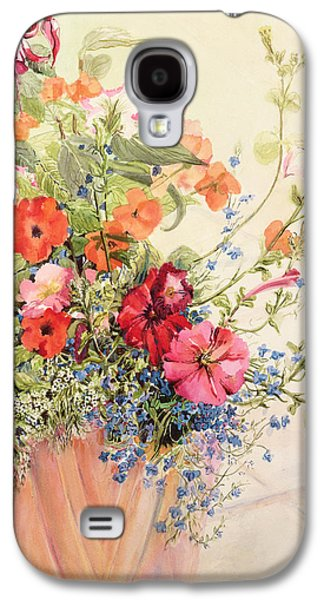 Petunias Lobelias Busy Lizzies And Fuschia In A Terracotta Pot Galaxy S4 Case by Joan Thewsey
