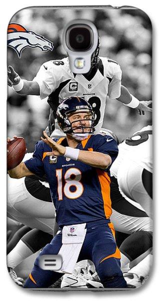 Peyton Manning Broncos Galaxy S4 Case by Joe Hamilton