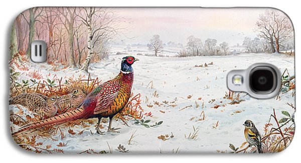 Pheasant And Bramblefinch In The Snow Galaxy S4 Case by Carl Donner