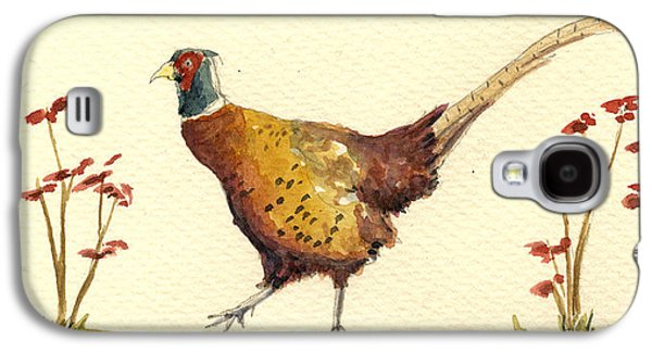 Pheasant Galaxy S4 Case - Pheasant In The Flowers by Juan  Bosco