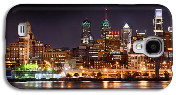 City Scenes Galaxy S4 Case - Philadelphia Philly Skyline At Night From East Color by Jon Holiday