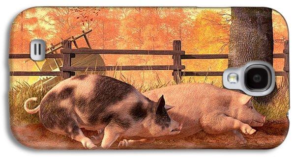 Pig Race Galaxy S4 Case by Daniel Eskridge