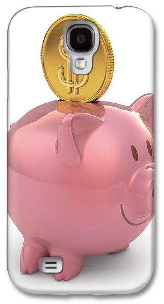 Piggy Bank And Gold Coin Galaxy S4 Case by Ktsdesign