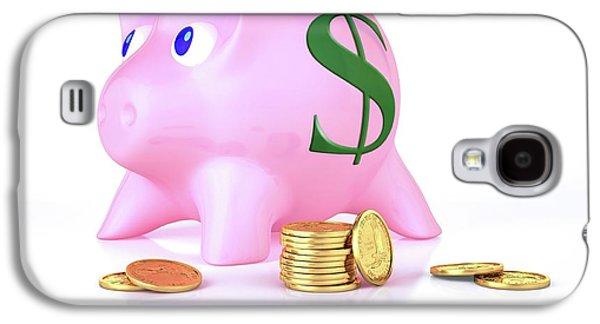 Piggy Bank And Gold Coins Galaxy S4 Case by Leonello Calvetti