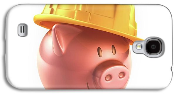 Piggy Bank And Hard Hat Galaxy S4 Case by Ktsdesign