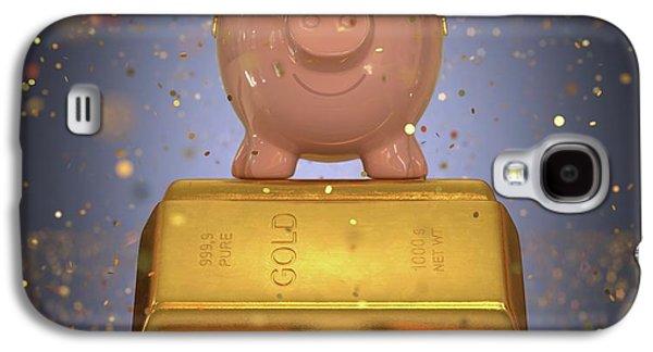 Piggy Bank On Gold Bullion Galaxy S4 Case by Ktsdesign