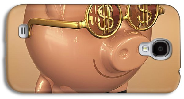 Piggy Bank Wearing Glasses Galaxy S4 Case by Ktsdesign