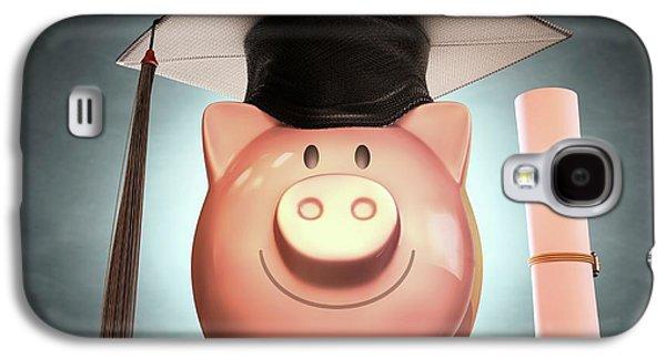 Piggy Bank Wearing Graduation Cap Galaxy S4 Case by Ktsdesign