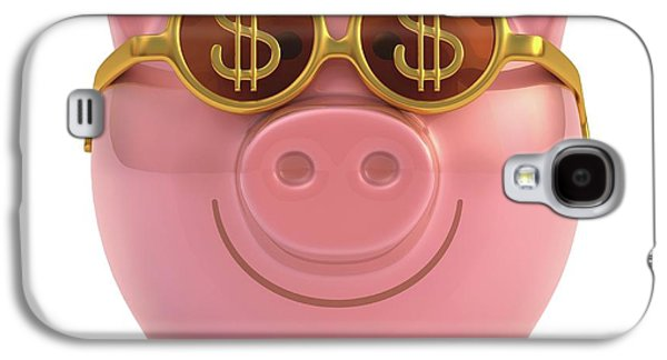 Piggy Bank With Sunglasses Galaxy S4 Case by Ktsdesign