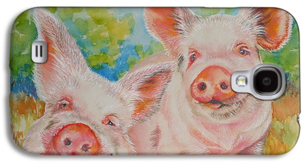 Pigs Pink And Happy Galaxy S4 Case by Summer Celeste