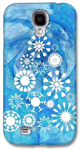 Pine Tree Snowflakes - Baby Blue Galaxy S4 Case