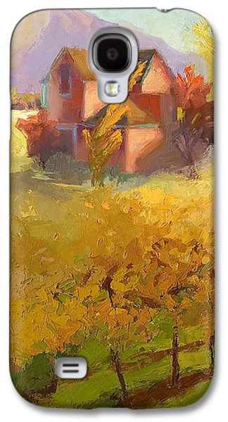 Pink House Yellow Field Galaxy S4 Case by Cathy Locke
