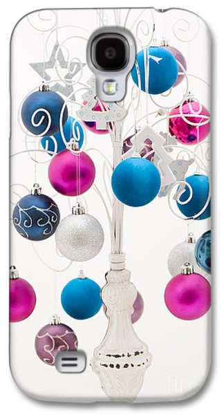 Pink White And Blue Christmas Galaxy S4 Case by Anne Gilbert