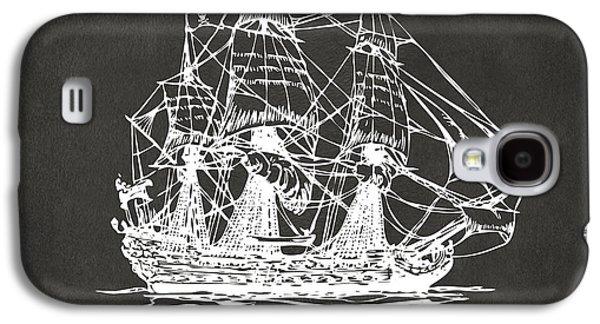 Pirate Ship Artwork - Gray Galaxy S4 Case by Nikki Marie Smith