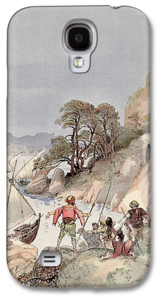 Pirates From The Barbary Coast Capturin Gslaves On The Mediterranean Coast Galaxy S4 Case by Albert Robida